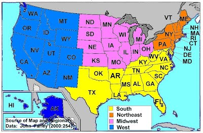 Geography Classroom - Map of west us states